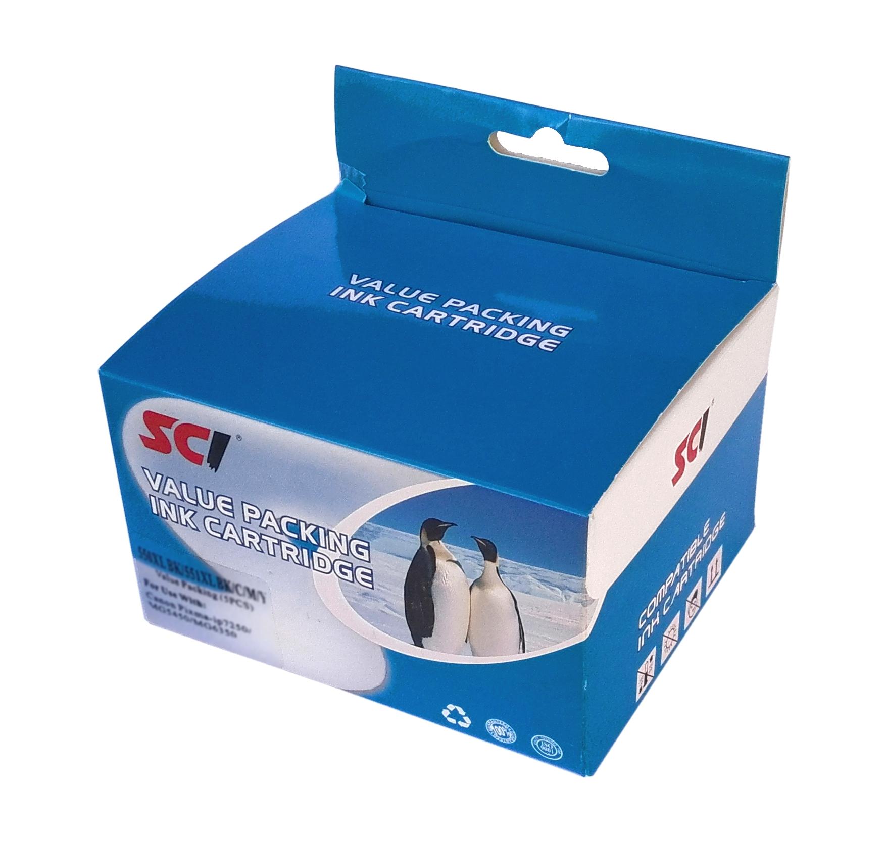 Canon CLI-551xl multipack BK/C/M/Y + PGI-550xl Bk - compatible Kompatibilní cartridge Canon CLI551 a PGI550 - sada 5-ti barev