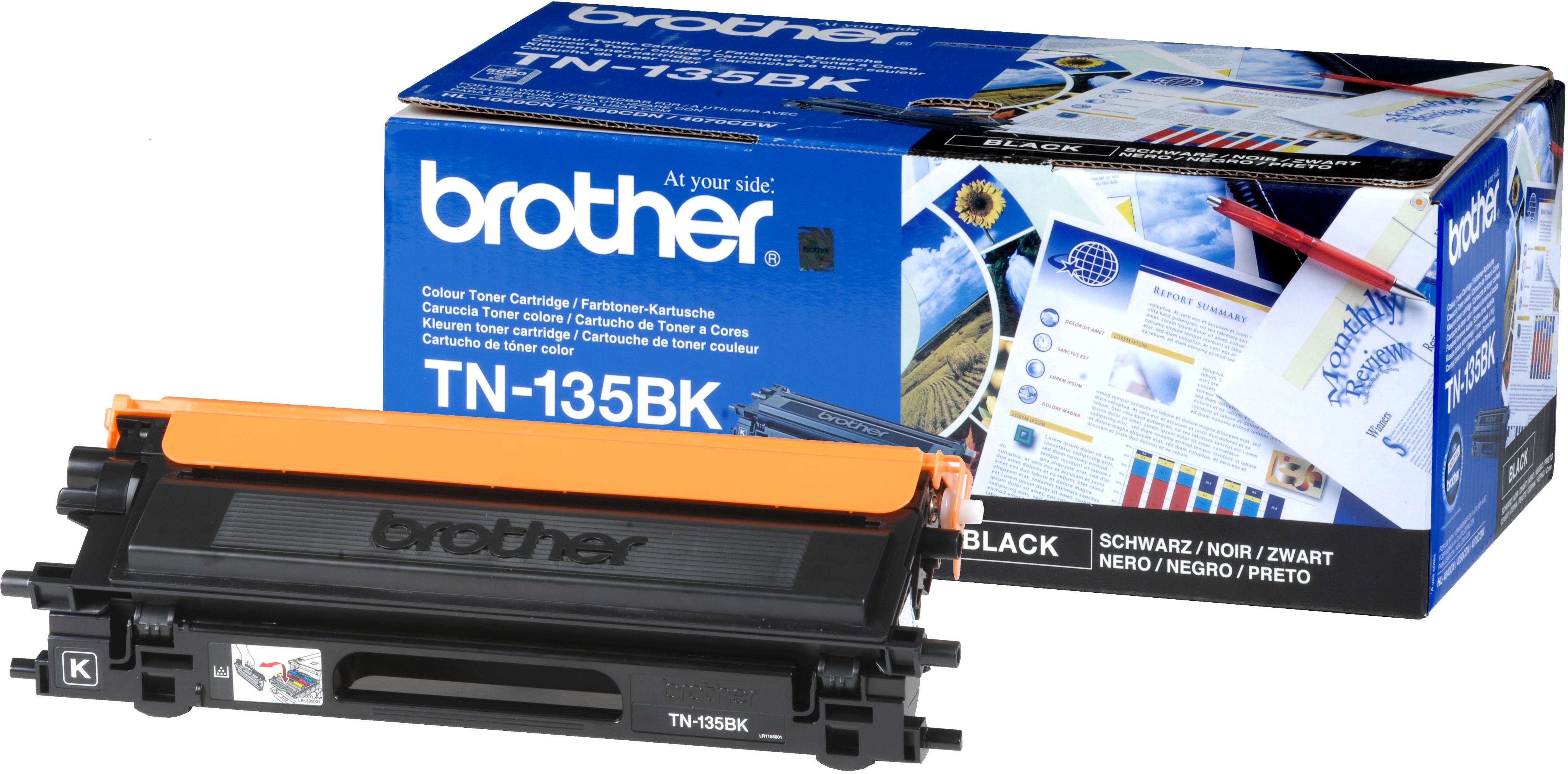 Brother TN-135Bk black original Originální cartridge Brother TN135Bk - černá