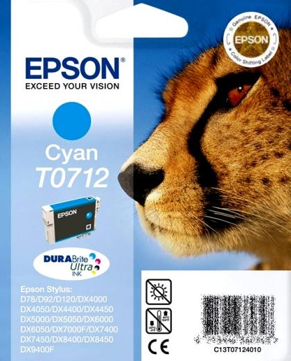 Epson T0712 cyan Originál Originální náplň Epson T 0712 - azurová