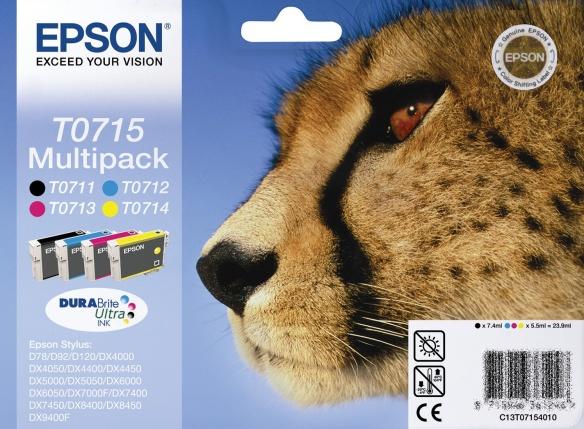 Epson T0715 multipack Bk/C/M/Y Originál Originální náplň Epson T 0715 - sada 4x barva