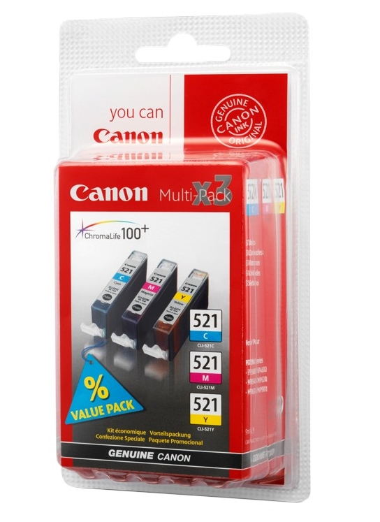 Canon CLI-521 multipack C/M/Y - Originál Originální náplň Canon CLI521 - sada C/M/Y