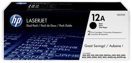HP Q2612AD (HP 12AD) black original Originální cartridge HP Q2612AD (12AD) - černá 2x
