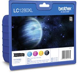 Brother LC-1280xlBkCMY multipack original Originální cartridge Brother LC 1280xl BkCMY - černá/azurová/purpurová/žlutá