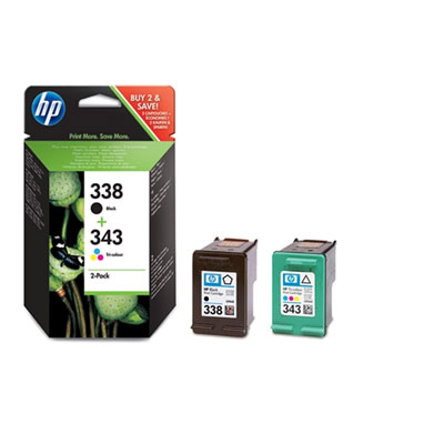 HP SD449EE (HP C8765 + HP C8766) - multipack original Originální cartridge HP SD449E (HP 338 + HP 343) - černá + barevná