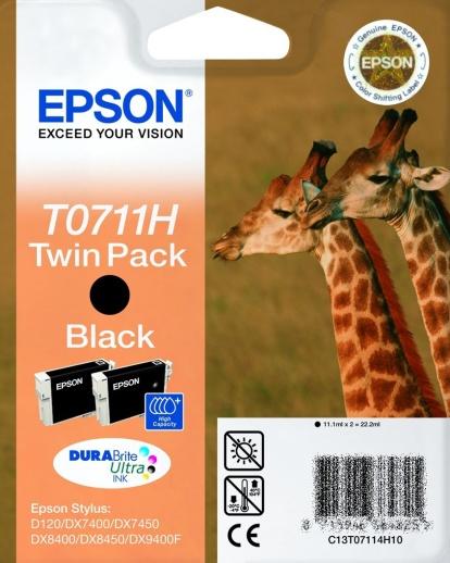 Epson T0711H black Originál TwinPack 2x11,1ml Originální náplň Epson T 0711H - černá (2x)