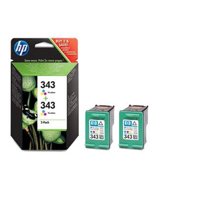 HP 343 (HP CB332EE) color twinpack Originál Originální cartridge HP343 (C8766EE + C8766EE) - barevná 2x