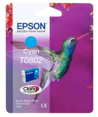 Epson T0802 cyan Originál Originální cartridge Epson T0802 - azurová